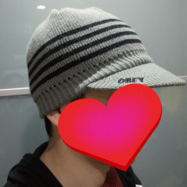 OBEY線條灰色毛帽