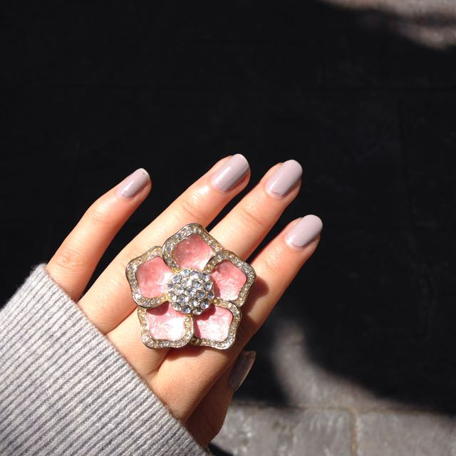 Pink and Gold Flower Ring