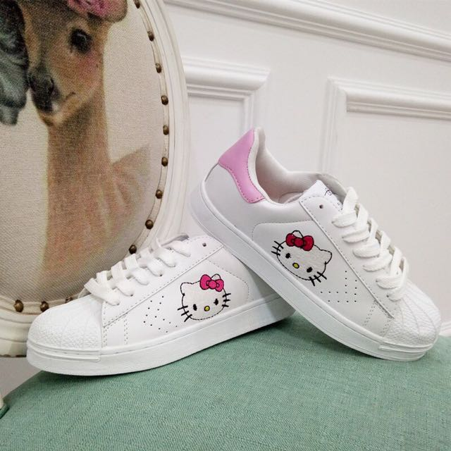 •PO• Hello Kitty Sanrio Inspired Adidas Superstar Shoes, Preorders on  Carousell