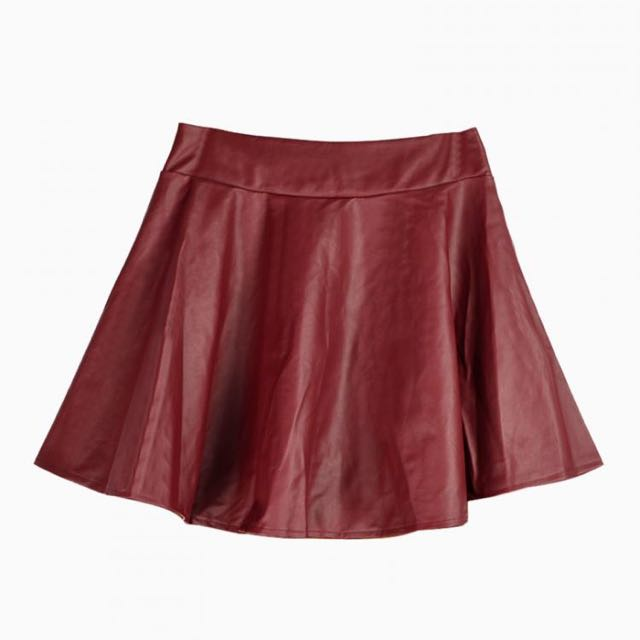 18c6d884b2 Red Faux Leather Skater Skirt