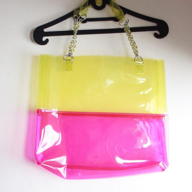 See through neon tote bag