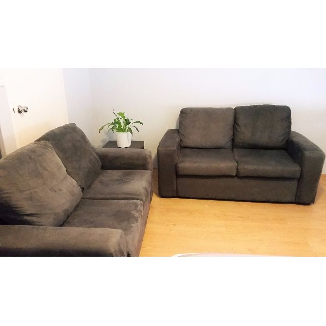 Set of 2 seater sofa/ lounge couch (2 x 2-seater) charcoal grey