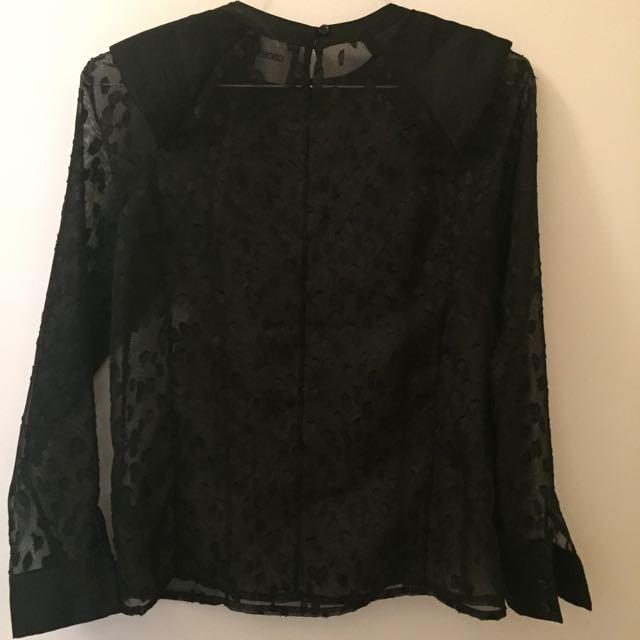 Size 8 Black Asos Sheer Blouse