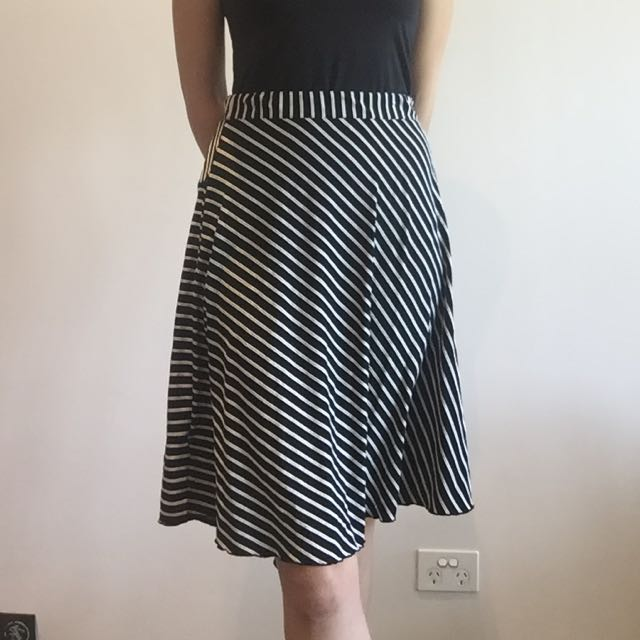 Skirt - Black And White Strip - Metalicus