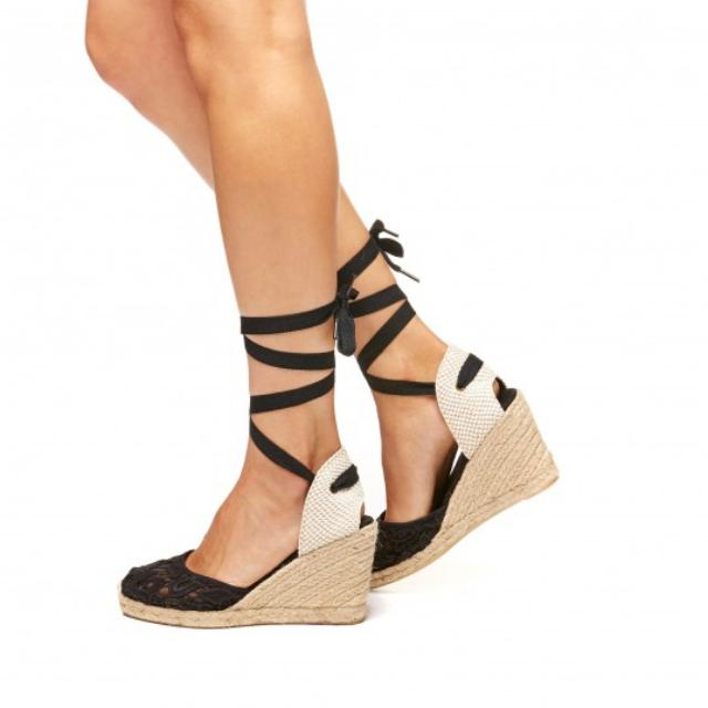 REDUCED Soludos Espadrille Wedge Black Lace