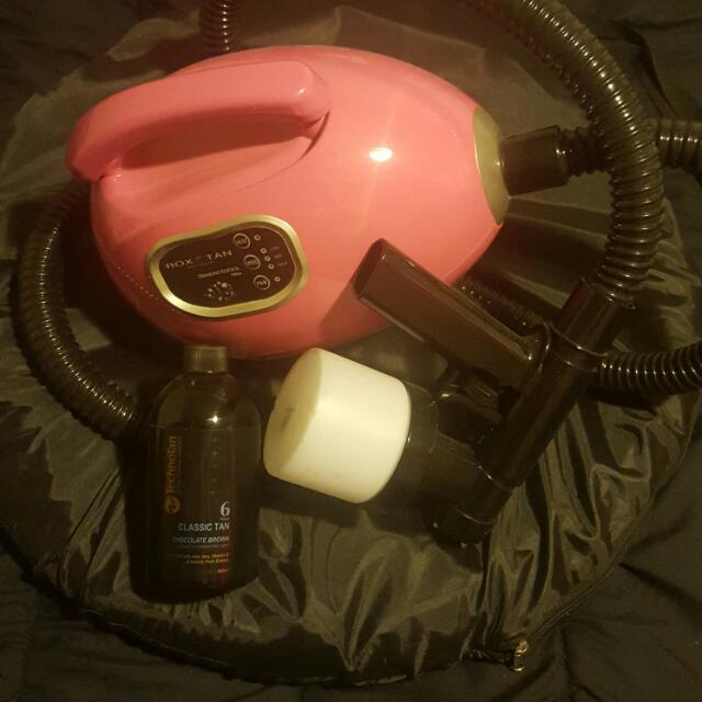 Tanning Machine .tent And Unopened Bottle Of Choc Brown Solution