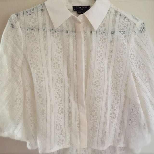 The Fifth Label White Lace Boxy Crop