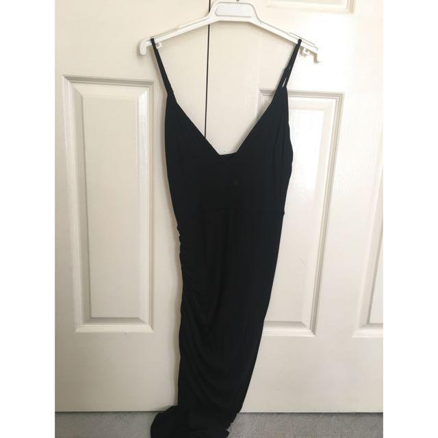 Tight Black Maxi Dress, Low V-neck, Leg Split