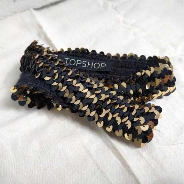 Topshop Black And Gold Sequin Headband 6adab423f54