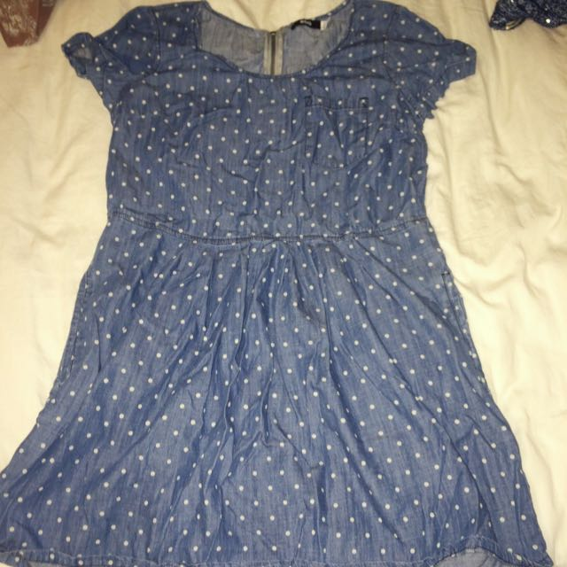 Urban Outfitters BDG denim Polka Dot Baby Doll Dress