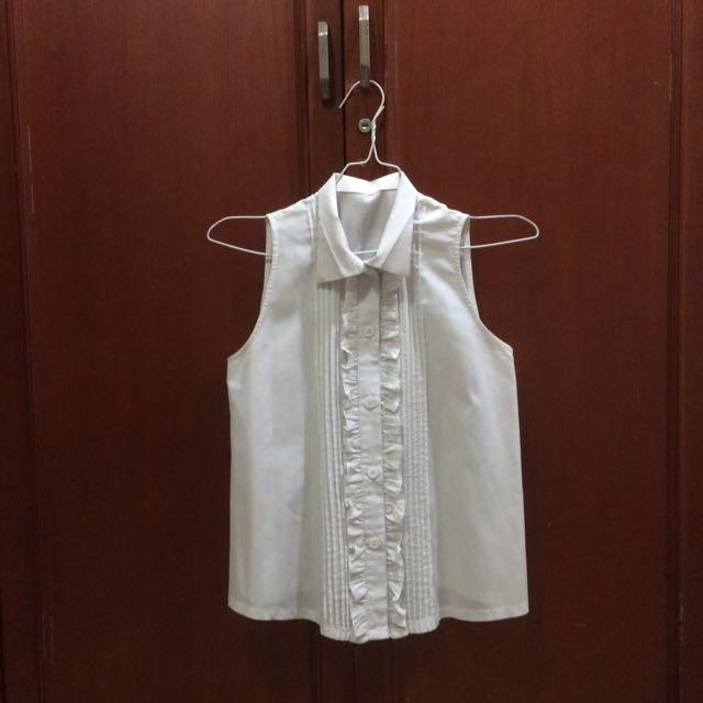 Vintage Sleeveless Ruffled Shirt