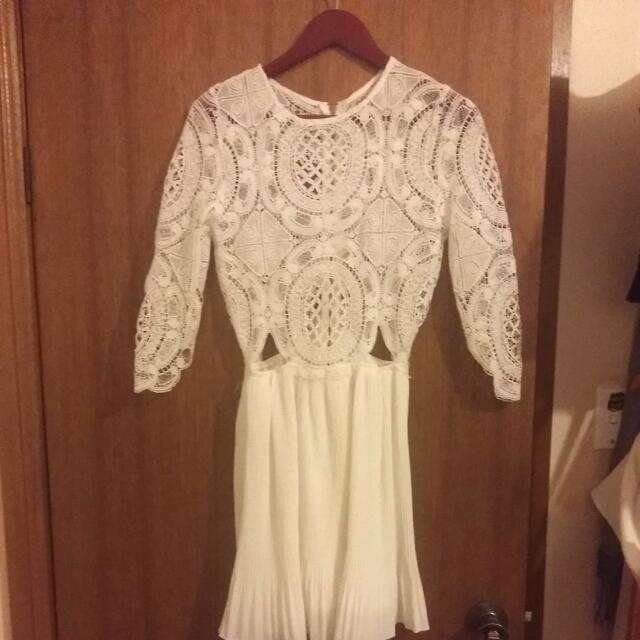 White Dress: Lace Top, Silk Bottom With Mid Cut Outs