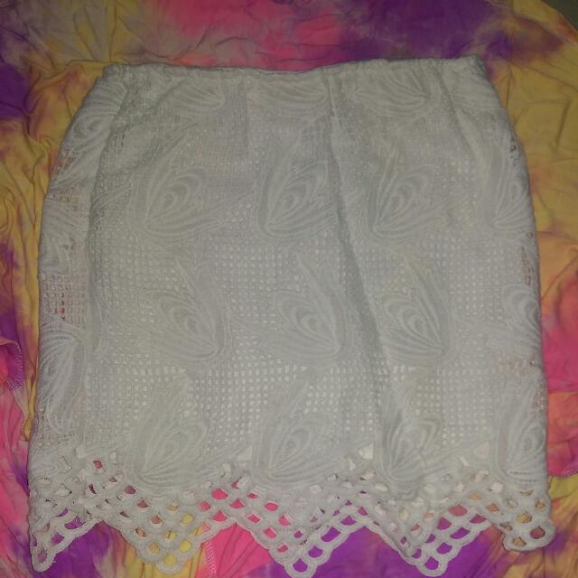 White Lace Bodycon Skirt Size 8