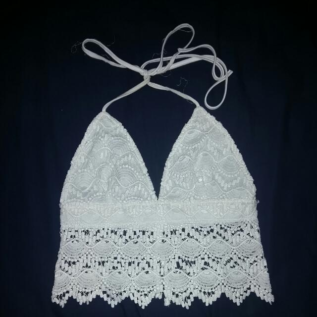 White Lace Crop Tie