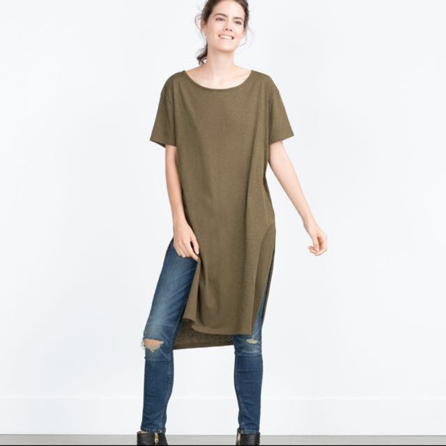 057515bdf8d3 Zara Long Army Green Olive Side Slit Top Tshirt Shirt Dress