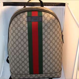 GUCCI GG SUPREME BACKPACK WITH WEB
