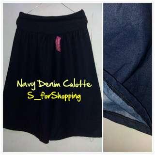 Navy Denim Culotte (7/8)