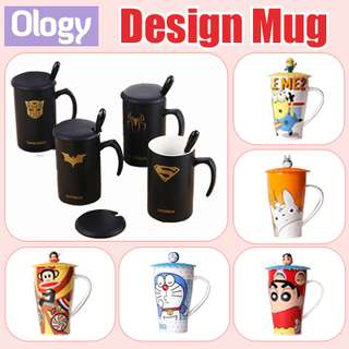 Xmas Gift Idea! Over 50 Designs of Mug Cartoon Cups with Spoon Doraemon Minion Shin Chan Totoro Hello Kitty Superhero Super Mario