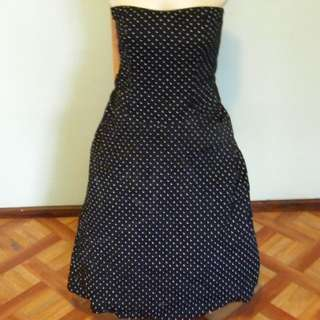Polka dot Retro Style Fitted Dress With Under Skirt