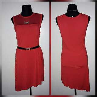 Red Christmas Assymetrical Dress With Mesh