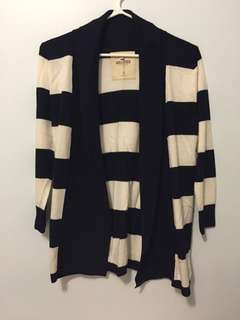 Hollister navy blue and cream striped cardigan