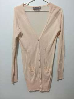 Zara long pale pink cardigan
