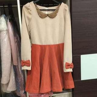 韓國 厚毛呢公主袖蝴蝶結洋裝