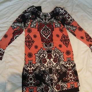 Orange , Black, White Long Sleeve Dress