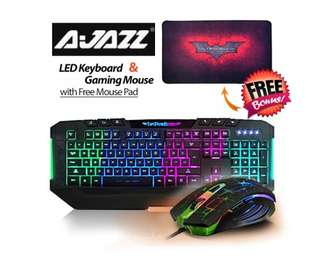 Ajazz Dark Knight 7 Backlight LED Keyboard and 7 LED Colors 2400DPI 6 Button USB Gaming Mouse with Free Gaming Mouse Pad Set
