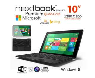 Nextbook 10.1 Inch 32G/Windows 8.1 with Bing/Quad Core with HDMI Output Tablet PC (M1012BCP) Refurbished
