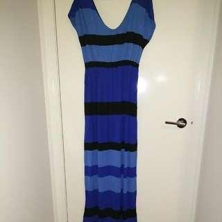 NEW Striped Sea Blue Maxi Dress Size M