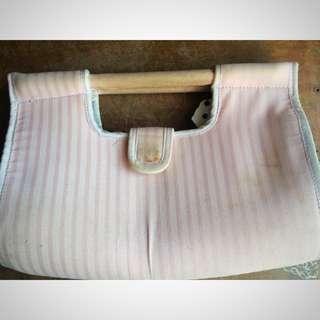 Pink Stripe Clutch Bag