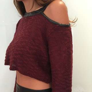 Cut Out Crop Jumper With Leather Lining