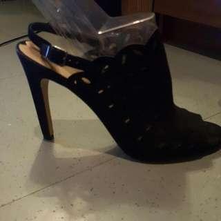 black suede heels Via spiega size 8