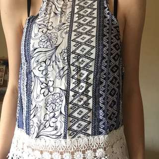 🌻 ALLY BLUE & WHITE TOP