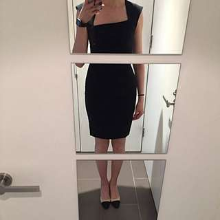 Portmans Black Dress With Uneven Neckline And Crease Details