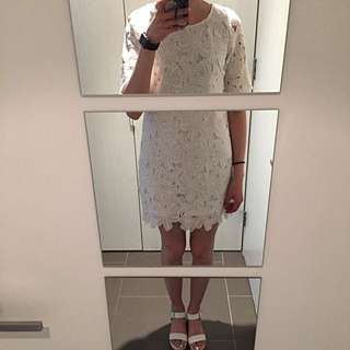 Dotti Floral Lace Shift Dress In White