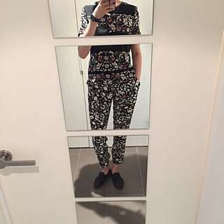ZARA Flora Print T-shirt Top With Leather Picket Details