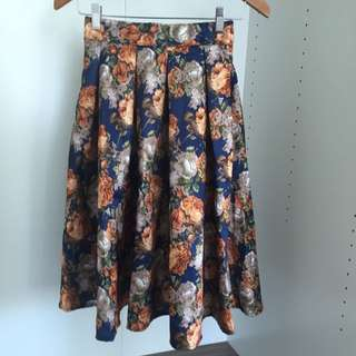 Tangerine Floral Midi Skirt Size Small