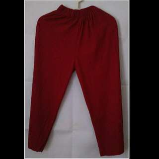 Celana Kulot Plisket - Chili Red