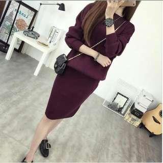 全新紫紅色針織兩件式套裝 洋裝 包臀裙
