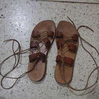 Leather Gladiator Tie-up Sandals