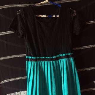 Mini Dress Black+tosca