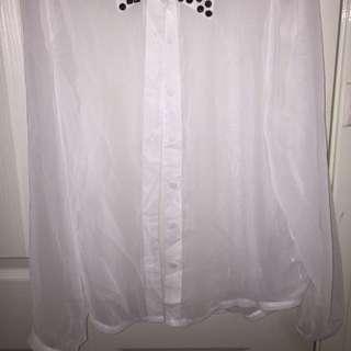 Boohoo Sheer Button Up Shirt