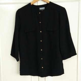 Blanc Et Noir Black 3/4 Sleeve Buttondown Blouse, Size Small