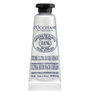 New Loccitane Ultra Rich Face Cream With 25% Shea Butter 10 ml