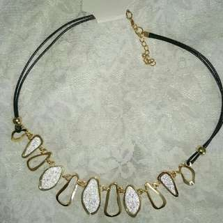 Gold And Silver Detail Unique Faux Leather Choker Style Necklace. Fancy And Gorgeous. Brandnew With Tags. $12