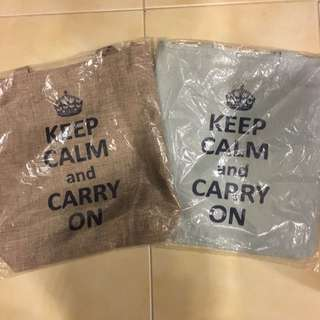 Keep Calm And Carry On Fabric Long Strap Shoulder Bag