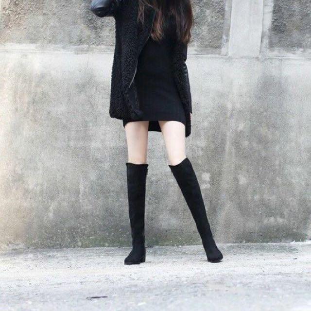 拼接麂皮長靴 過膝靴 23.5