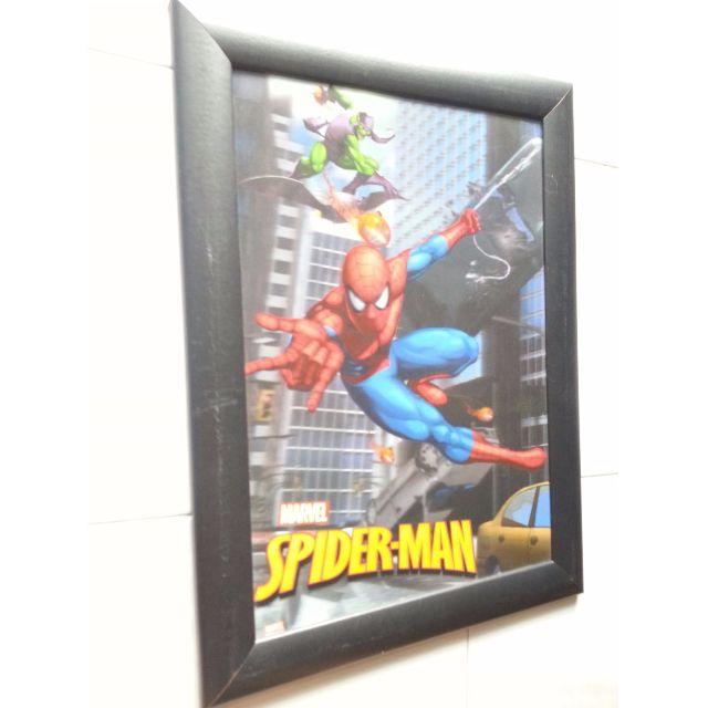 3D Marvel Spiderman Poster With Wooden Black Frame, Toys & Games ...